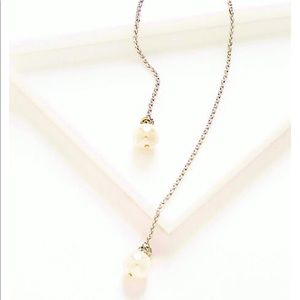 Adjustable Pearl Lariat Necklace Silver